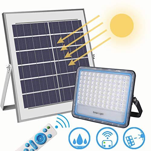 Faro solare led esterno 100W 6000K bianco IP67 Impermeabile Faretto solare fotovoltaico con telecomando