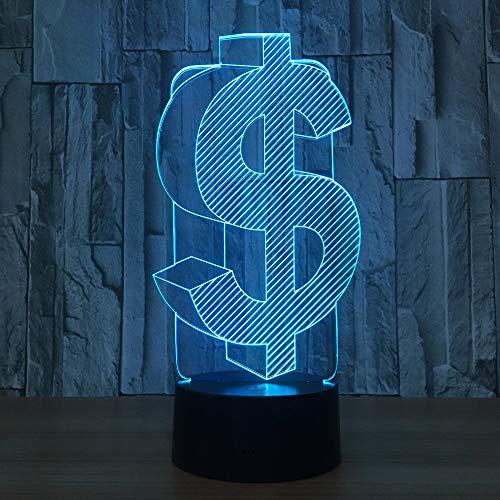 US Dollar Symbol 3D lámpara led Usb 3D Color de luz cambiable Lampara decoración de oficina Lámpara de noche Led Amigo Negocio Regalo para niños
