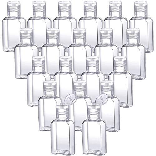 30 Pieces Portable Travel Bottle Clear Plastic Empty Bottles Refillable Reusable Bottles Containers for Travel Outdoor Camping Business Trip (1 oz, Transparent Cap) (0.375 Ounce Bottles)