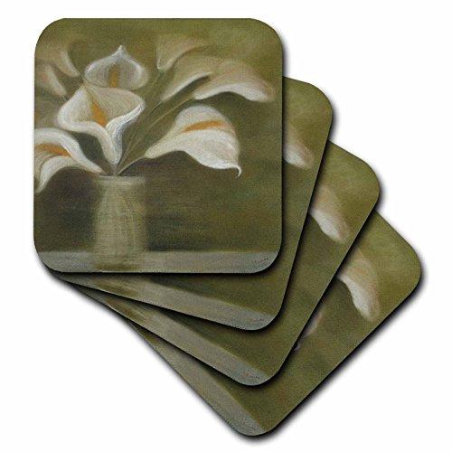 3dRose CST 46738_ 2Callas in Vase Calla, Calla LILIEN, Calla Lily, Callas, Ostern, Lily, Floral, Blume weich Untersetzer, Set von 8