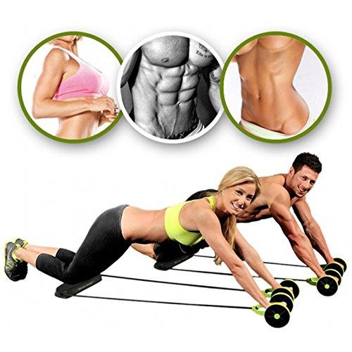 Bauchmuskeltrainer, Fitnessgerät mit Doppelrollen und Seil zum Trainieren der Bauchmuskel, 1pc