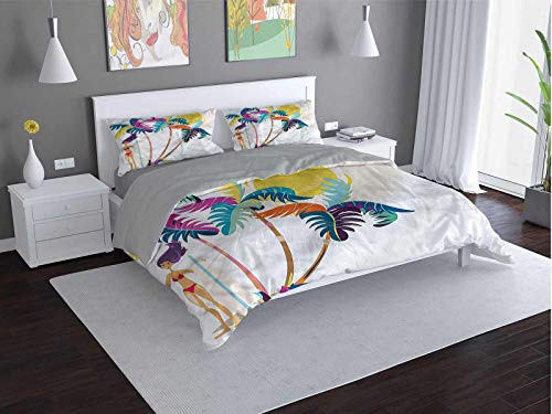 Toopeek Surf Extra large quilt cover Cartoon-Girl-on-Tropical-Beach Can be used as a quilt cover-lightweight (King)