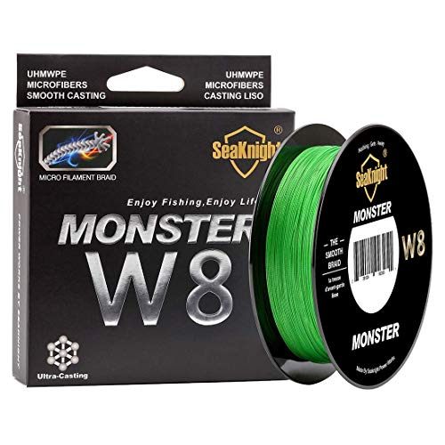 SeaKnight Monster W8 Braided Lines 8 Strands Weaves 500M/547Yards Super Smooth PE Braided Multifilament Fishing Lines for Sea Fishing Green 50LB