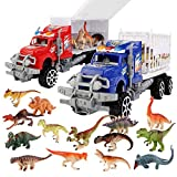 SmartYeen 2-Pack Dinosaur Truck Carriers with 14pcs Dinosaur Toys and Play Mat,Dinosaurs car playset Toys for 3-12 Years Old Boys Girls Kids