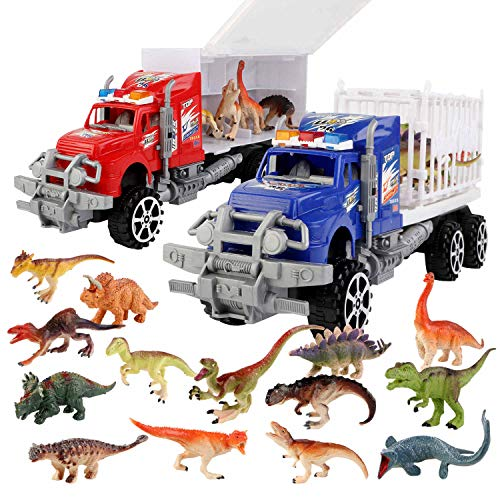 SmartYeen 2Pack Dinosaur Truck Carriers with 14pcs Dinosaur Toys and Play MatDinosaurs car playset Toys for 312 Years Old Boys Girls Kids