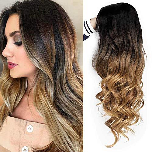 Perücke Braun Lang Ombre für Damen Natürliches synthetisches Locken Haar Wig Party Cosplay Täglicher Gebrauch Perücken VD065