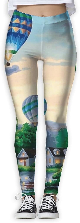 EWDVqqq Girl Yoga Pant Hot Air Balloons Wallpapers High Waist Fitness Workout Leggings Pants