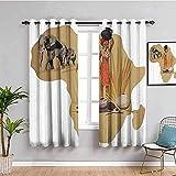 LTHCELE Blickdicht Vorhang für Schlafzimmer - Afrika Frau Elefant Retro - 3D Druckmuster Öse Thermisch isoliert - 183 x 160 cm - 90% Blickdicht Vorhang für Kinder Jungen Mädchen Spielzimmer