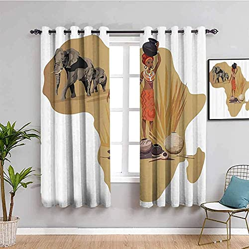ZLYYH cortinas para salon África mujer elefante retro WxH:168x229cm(84x229cm x2 paneles) Cortina...