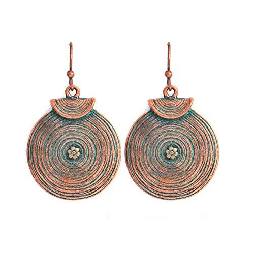 Weryffe Stilvolle Vintage Ohrringe Ethnischen Boho Baumeln Ohrringe Mit Runder Patina Anhänger Spirale Für Frauen Und Mädchen (Kupferfarbe 1)