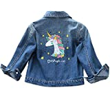 Hongxin Cazadora Vaquera Niños Niñas Chaqueta Denim Desteñido Moda Dibujos Animados Casual Mezclilla Jackets Encajes Jean Abrigo 3-12 Años