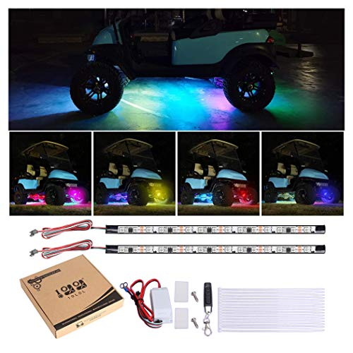10L0L Golf Cart Lights Underglow Neon Accent Strip Multicolor LED Lights Kit Fits EZGO Club Car Yamaha Golf Cart and So on Water Resistant Tubes (Battery Input 12V-66V)