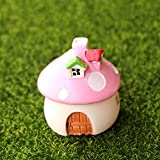 DAWEIF Fairy Garden Resin Craft Miniature Ornaments Cartoon Mushroom House Micro Landscape Bonsai Mushroom Castle Gift(L,Pink)