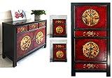 OPIUM OUTLET Ensemble de meubles chinois RedMagic - Meubles asiatiques - Pour chambre à coucher - Style shabby chic vintage - Rouge/noir - Commode et 2 consoles de nuit