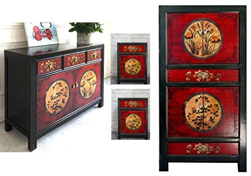 OPIUM OUTLET Juego de muebles chinos RedMagic, muebles asiáticos para dormitorio, Shabby Chic vintage, color rojo y negro, armario de boda, cómoda y 2 consolas de noche