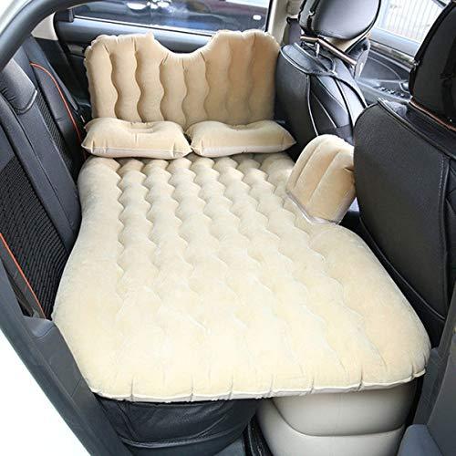 LXUXZ Materasso Gonfiabile per Auto, Campeggio, con Cuscino, Bagagliaio, da Viaggio, per 2-3 Persone (Color : Beige, Size : 135x90cm)