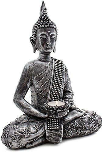 BRUBAKER Statuetta del Buddha in color oro, dotata di portacandela collocato ad un'altezza di circa 32 cm