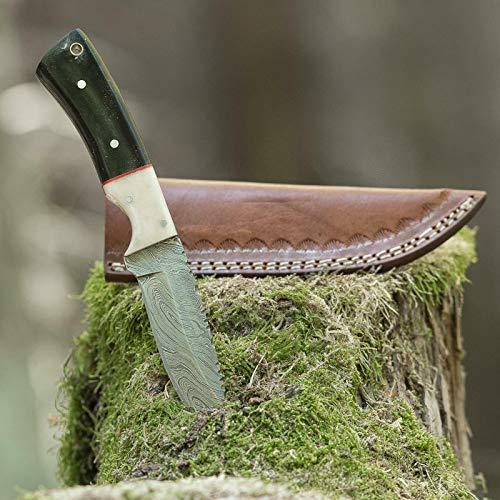 elToro Buffalo Horn - Damast - Jagdmesser - 10cm - inkl. Lederscheide; Messer für Camping, Outdoor, Survival, Wald und Forst