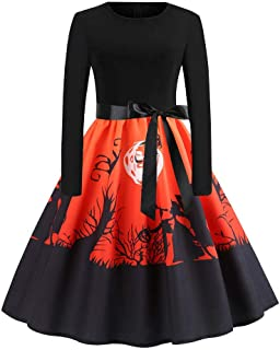 Womens Halloween Dresses, Simplenes Scarecrow Silhouette Print Women's 1950s A Line Vintage Dresses with Belt Audrey Hepburn Style Party Dress Swing Retro Rockabilly Cocktail Stretchy Dresses