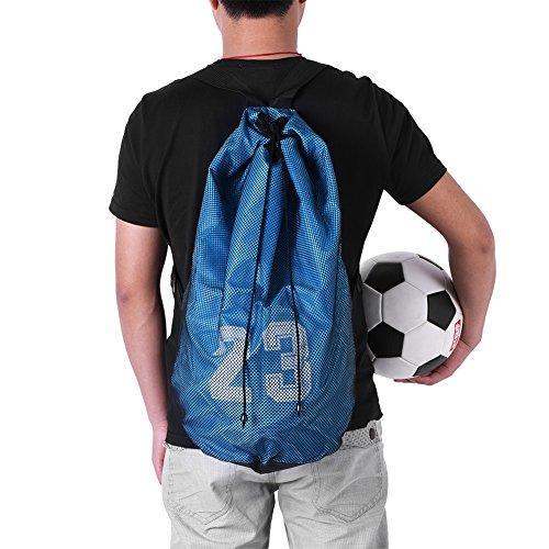 Tbest Mochila con Cordón Baloncesto Fútbol,Bolsa con Cordón Bolsa de Pelota de Malla Bolsa de Gimnasio Entrenamiento Ejercicio de Malla Mochila Bolso con Lazo para Deportes Baloncesto Fútbol(Azul)