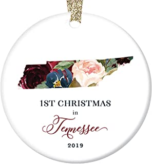 Christmas 2019 Ornament Collectible Ceramic Tree Decoration First 1st Holiday Moved to TENNESSEE Keepsake Present for Friends & Family Lovely Flowers 3