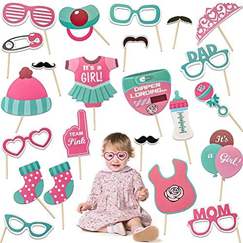 Accesorios para fotomatón Decoracion para Baby Shower para niña, 23 Juegos para Baby Shower, Accesorios para Fotos, Accesorios para fotomatón para Fiestas para decoración de revelación de género Rosa