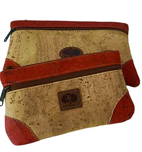 Conjunto de Bolsas Cartera de Corcho Natural con Cantos teñidos de Rojo