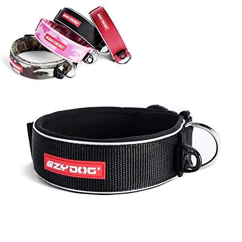 EzyDog Neo Wide - Halsband Hund breit, Hundehalsband für Große Hunde | Neopren gepolstert, reflektierend, wasserfest (L, Schwarz)