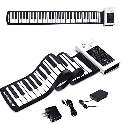 BABY JOY 61 Keys Roll Up Piano, Upgraded Electronic Piano Keyboard, Portable Piano w/Bluetooth, MP3 Headphone USB Input, MIDI OUT, 128 Rhythms, Record, Play, Volume Control (White, 61 Keys)