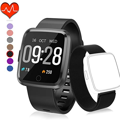 Polywell Fitness Armbanduhr mit Herzfrequenz, Fitness Tracker, Bluetooth Sportuhr Aktivitätstracker Schrittzähler, Schlaf Monitor, Kalorienzähler[2 x Replaceable Watch Strap] (Black + Black Strap)