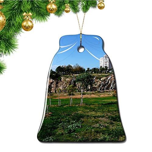 Hqiyaols Ornament Türkei Duden Wasserfälle Antalya Weihnachten Ornamente Bell Form Keramik Souvenir Stadt Reise Geschenk Baum Tür Fenster Decke Zierschmuck Deko