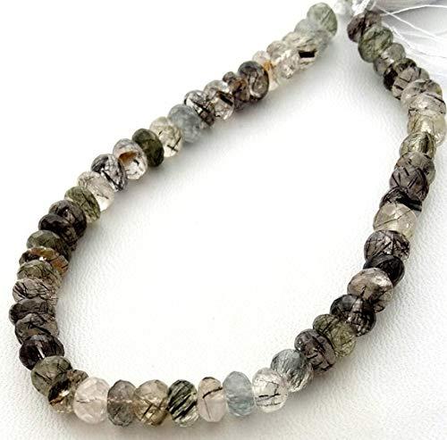 LOVEKUSH LKBEADS naturliga svarta rutinerade kvartsfasetterade pärlor, runda pärlor, 7 mm – 8 mm, 23 cm lång sträng [E1442] svarta rutilpärlor Code-HIGH-33079