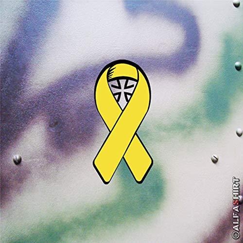 Aufkleber/Sticker Gelbe Schleife Solidarität Bundeswehr BW Reservist 10x5cm A621