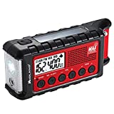 Midland - ER310, Emergency Crank Weather AM/FM Radio - Multiple Power Sources, SOS Emergency Flashlight, Ultrasonic Dog Whistle, & NOAA Weather Scan + Alert (Red/Black)