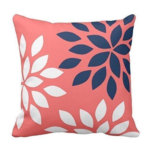 N\A Funda de Almohada Floral Azul Marino y Coral