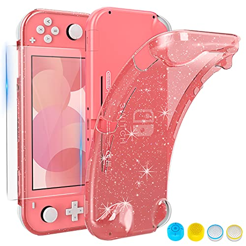 HEYSTOP Case Compatible with Switch Lite, with Tempered Glass Screen Protector and 4 Thumb Grip, TPU Protective Cover for Switch Lite with Anti-Scratch/Anti-Dust (Pink)