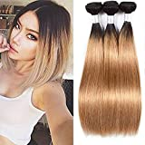 Ombre Hair Bundles 1B/27 Human Hair Extensions Weave Silky Straight Bundles 16 18 20 Inch Two Tone Hair Bundles Dark Roots To Honey Blonde Wet And Wavy Human Hair Ombre Long Bundles