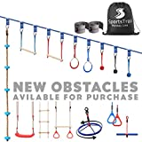 Ninja Slackline Monkey Bars Kit, 42'' Jungle Gym Obstacle Course for Kids and Adults + Climbing...