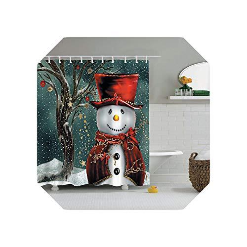 Blue Stor Cortina de baño y Alfombra Set Baño |Feliz Navidad Feliz Año Nuevo Cortina de Ducha de árbol Cortina de baño con Ganchos Cortinas de baño o Cortina Mat-yl0004-Only150xH180