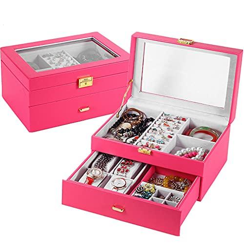 Almacenamiento de joyas Oganizer Caja de joyería multifunción de hombres, cajón de gran capacidad Gafas de sol Anillo Caja de almacenamiento de regalos para novios y hombres Para niñas y regalo de las