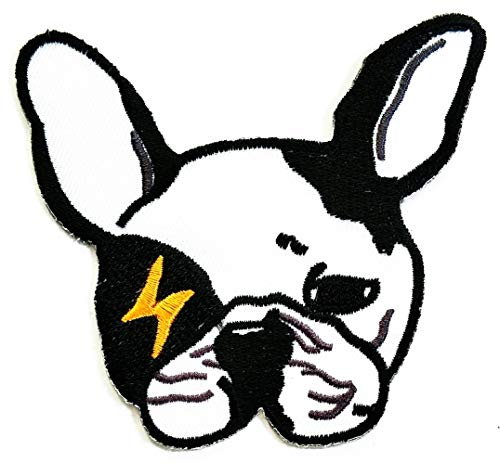 Nipitshop Patches French Bulldog Dog Cartoon Iron On Patches Cartoon Embroidery 222 Badges for Sewing Kids Clothing