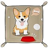 HOHOHAHA Bandeja de dados plegable, bandeja plegable de cuero sintético para juegos de rol y otros juegos de mesa de juegos de mesa, lindo perro Corgi hambriento huesos