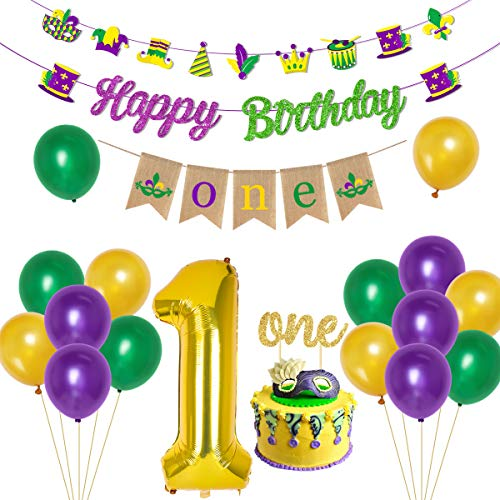 Mardi Gras 1st Birthday Party Decorations -- Happy Birthday Banner High Chair Banner Number 1 Balloon for Boys Girls New Orleans Fat Tuesday Mardi Gras Carnival Decorations Supplies