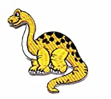 HHO Lovely Yellow Dinosaur Animal Cartoon Kids Patch Embroidered DIY Patches, Cute Applique Sew Iron on Kids Craft Patch for Bags Jackets Jeans Clothes