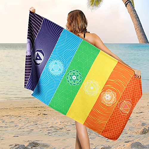 """Microfiber Chakra Beach Towel, Colorful Striped Meditation Beach Towels, Super Soft Beach Towel for Traveling, Bathroom, Swimming, Camping, Outdoors and Sport, 30"""" X 60""""Inch"""