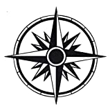 Custom Vinyl Round Simple Compass Rose Decal - Nautical Bumper Sticker, for Laptops or Car Windows - Orienteering, Sailing, Hiking Transfer