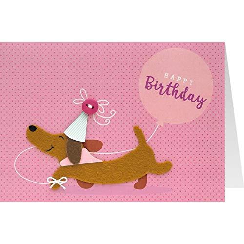 Sheepworld, Gruss & Co. - 90856 - Klappkarte, Knopfkarte, mit Umschlag, Nr. 16, Geburtstag, Happy Birthday, Dackel
