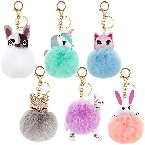 6 Pieces Cute Animal Pom Pom Keychain Faux Fur Fluffy Key Ring for Women Girls product image