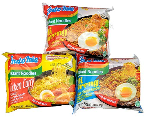 Indomie Halal Noodles Instant Ramen Noodles Variety Pack (Pack of 30) - Mi Goreng Fried Noodles, Curry Chicken, and Mi Goreng Barbeque Chicken Flavors (10 packs each)