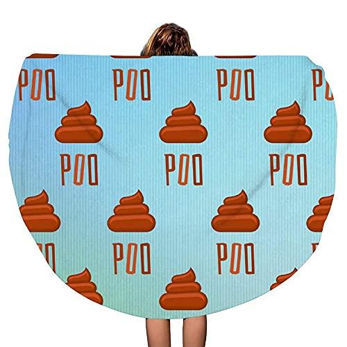 Poo Poop Emoji Manta de Toalla de Playa Redonda Gruesa | Tirar Mandala | Microfibra | Estilo de círculo Bohemio | De Gran tamaño Extra Grande | Tapete de Yoga | Cubierta de Mesa